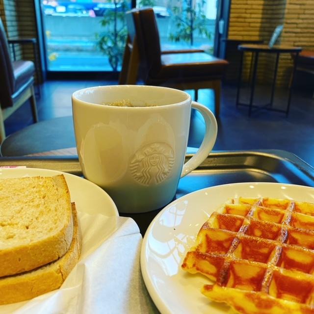 スターバックスコーヒー豊中緑地公園店で7時からモーニング(朝食)です